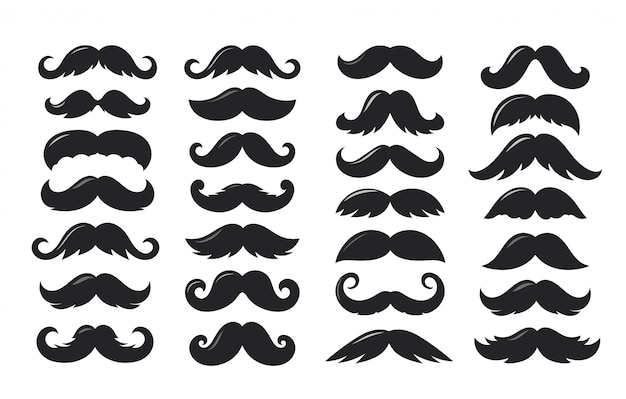 Black silhouettes of moustache vector collection isolated