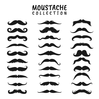 Black silhouettes of mustache, set of mustaches isolated on white background