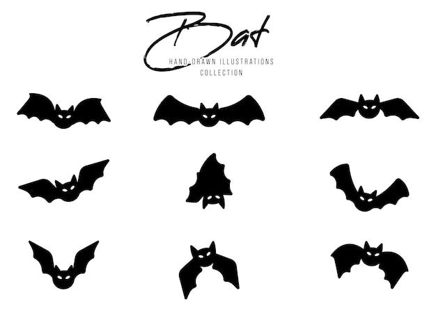 Черные силуэты летучих мышей на хэллоуин на белом фоне
