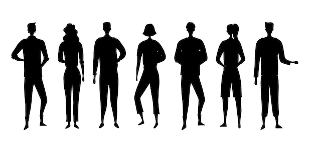 Black silhouettes of people men and women isolated on the white background.