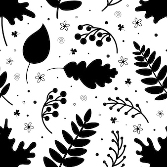 Black silhouettes of various leaves and berries forming seamless pattern on white background