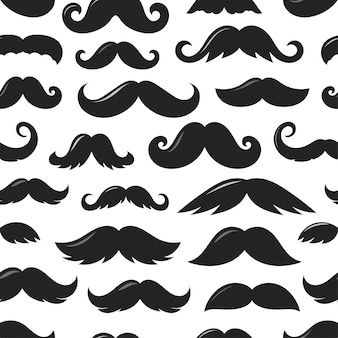 Black sillhouettes of moustache v seamless pattern