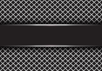 Black silver banner on grey square mesh background.