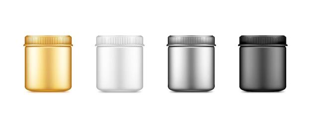 白で隔離のパッケージデザインのキャップモックアップと黒、銀、金、白の空のプラスチックバンク