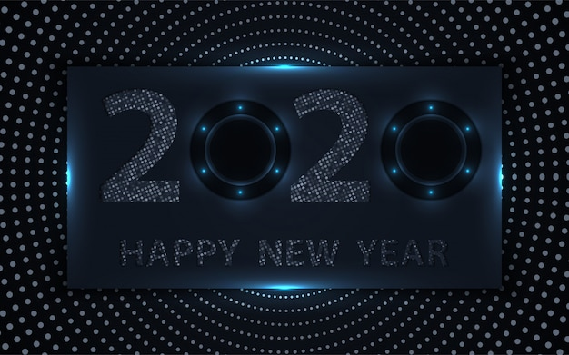 Black and silver happy new year background with glitters element