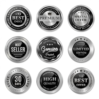 Black and silver metal badge and label collection