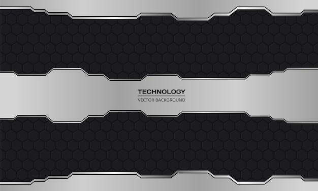 Black and silver technology abstract metallic design hi-tech concept innovation dark iron carbon fiber background.