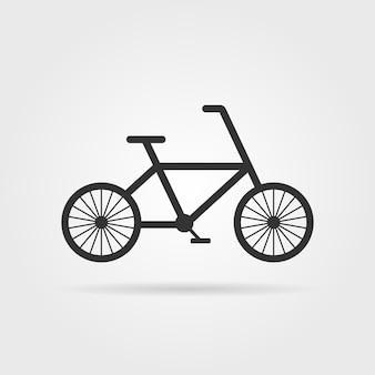 影付きの黒いシンプルな自転車のエンブレム。サイクリングのコンセプト、自転車のピクトグラム、ファットバイク、サイクリスト、趣味、モーション。灰色の背景にフラットスタイルトレンドモダンなロゴタイプグラフィックデザインベクトルイラスト