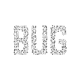 검은색 간단한 버그 텍스트입니다. 아픈, 미생물, 랜섬웨어, 생물학, 곤충학, 웜, 버기, 실수, 오류 응용 프로그램의 개념. 흰색 배경에 플랫 스타일 트렌드 현대 로고 디자인 벡터 일러스트 레이 션