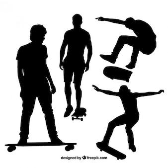 Черные силуэты конькобежца