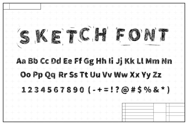 Black sketch font on blueprint layout plan with marks