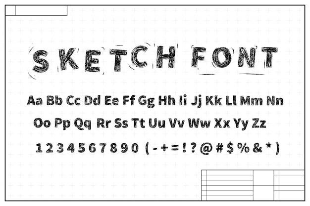 마크와 청사진 레이아웃 계획에 검은 스케치 글꼴