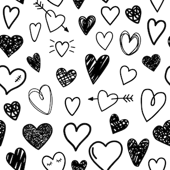Black sketch hearts seamless pattern