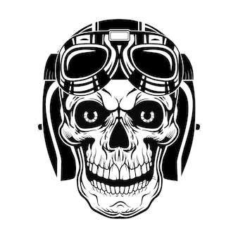 Black skull of pilot vector illustration. vintage dead head in protective helmet with googles