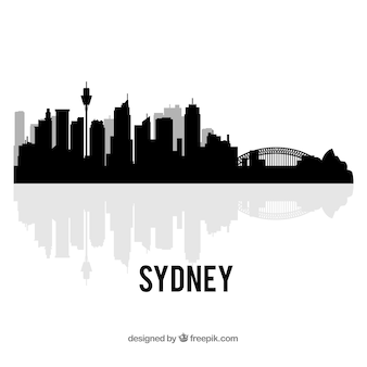 Black skyline of sydney