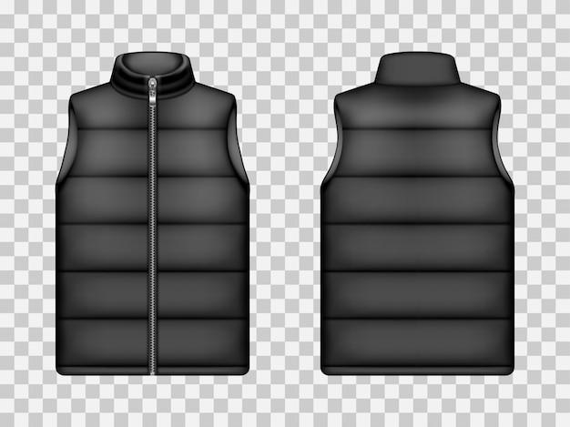 Black sleeveless puffer jacket, down vest mockup