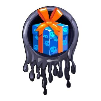 할로윈 파티를 위한 검은 점액 프레임과 선물 아이콘.