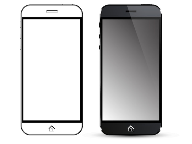 Black smart phone. front view and outline