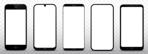 Черный смартфон иллюстрации набор с белым экраном и прозрачным фоном