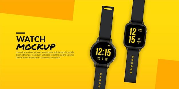 黄色の背景に分離された黒のスマート時計、スマートウェア技術の概念