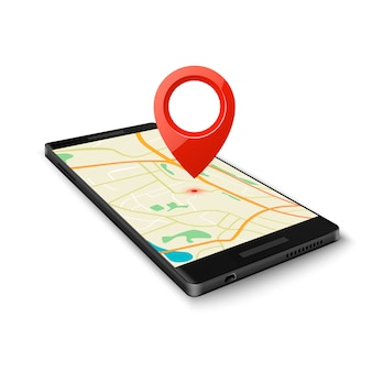 Черный смартфон с приложением для навигации по карте gps с точным указателем на текущее местоположение, изолированным на белом. векторная иллюстрация