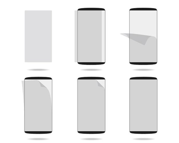 さまざまな段階で設定された保護ガラス付きの黒いスマートフォンのディスプレイ