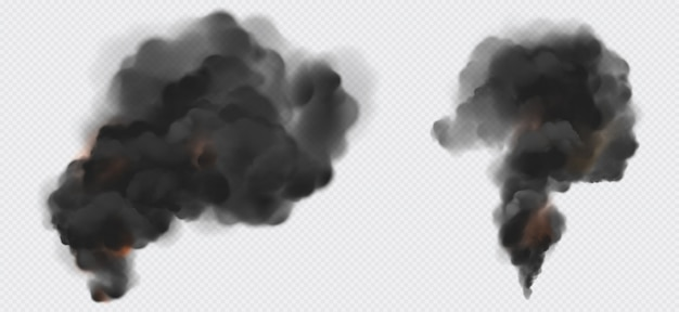 Black smoke or steam trails set, industrial smog