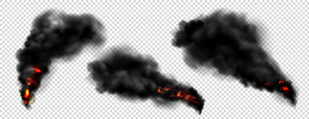 Black smoke with fire, dark fog clouds or steam trails.
