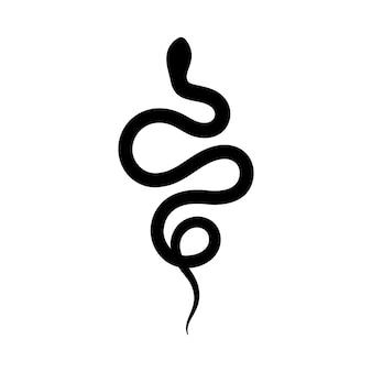 심플한 미니멀리즘 스타일의 검은 뱀 실루엣. 벡터 흰색 배경에 고립 된 그림입니다. 뱀의 아이콘입니다.