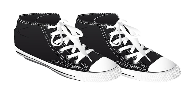 Black sneakers isolated over white background