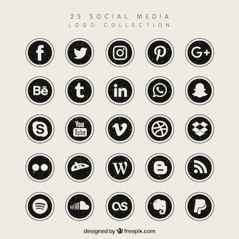 Black social media logo collection Premium Vector