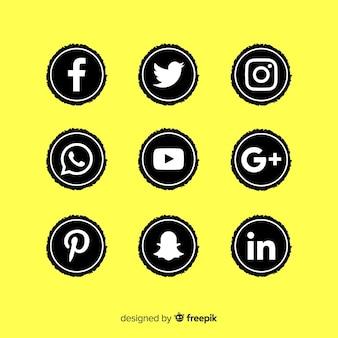 Black social media logo pack