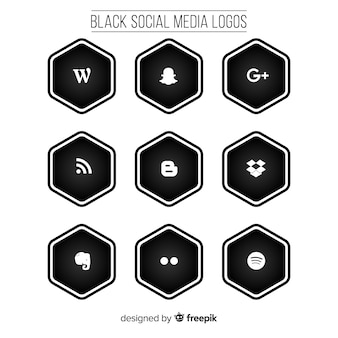 Black social media logo pack