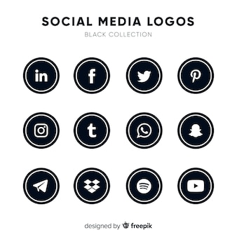 Black social media logos