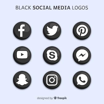黒のソーシャルメディアのロゴ