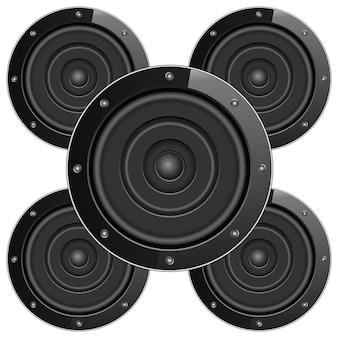 Черные звуковые колонки, иллюстрация