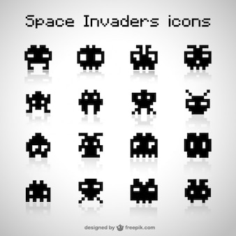 Black space invaders icons