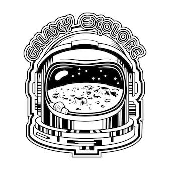 Черный шлем космонавта с луной в отражении векторные иллюстрации. винтажный защитный шлем для космонавтов