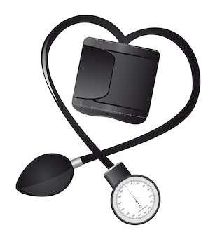 Black sphygmomanometer hearth-shaped isolated