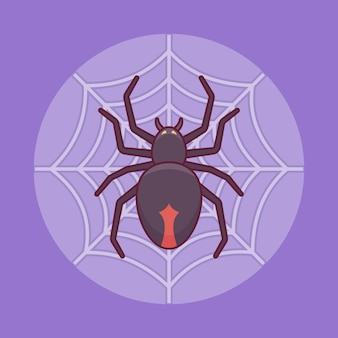 Black spider on the web in flat line style. halloween element.