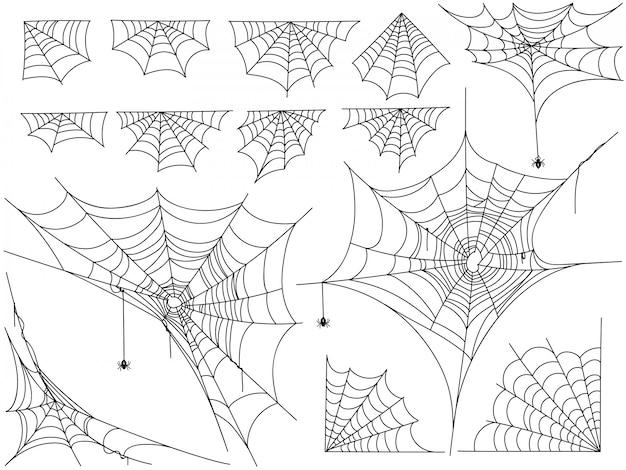 Черные пауки и различные сети, изолированные на белом
