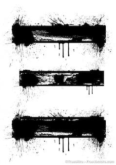 Black splash banners vector graphic