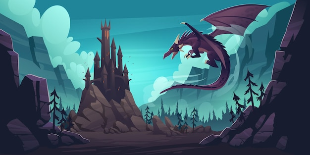 Black spooky castle and flying dragon in canyon with mountains and forest. cartoon fantasy illustration with medieval palace with towers, creepy beast with wings, rocks and pine trees