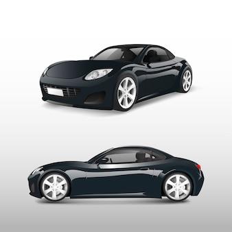 白いベクトルで分離した黒のスポーツカー