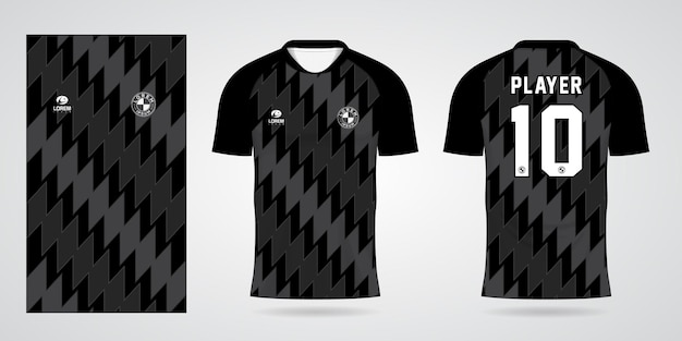 Шаблон черной спортивной майки для командной формы и дизайна футболки