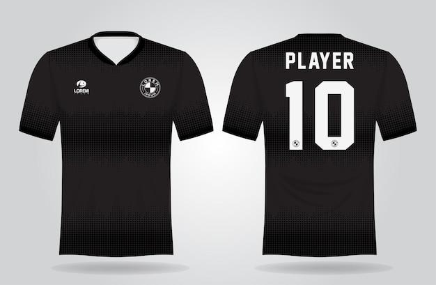 チームのユニフォームとサッカーのtシャツのデザインの黒のスポーツジャージテンプレート