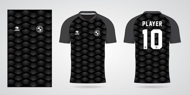 팀 유니폼과 축구 티셔츠 디자인을 위한 검은색 스포츠 저지 템플릿