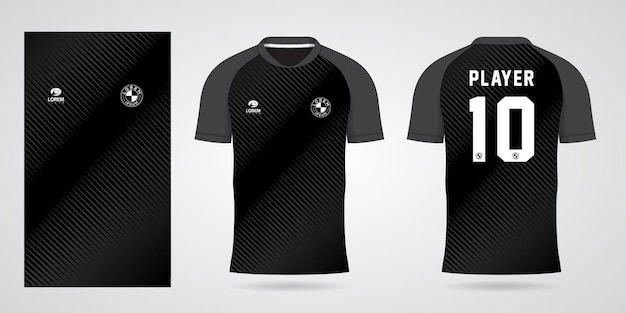 Black sports jersey template for team uniforms and soccer t shirt design