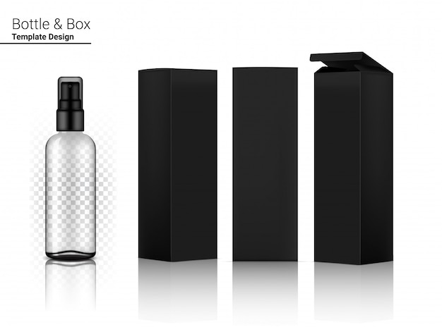 Black spray bottle transparent   realistic cosmetic and box for skincare product or medicine   illustration. health care and medical concept design.