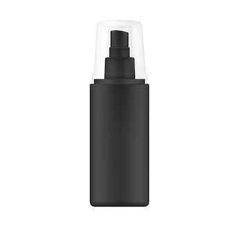 Black spray bottle with transparent cap.